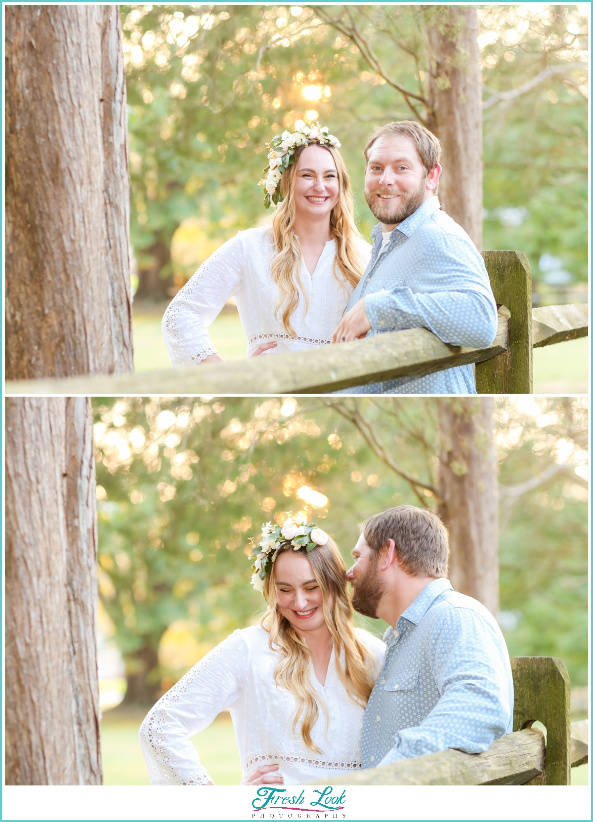 fun couples photos in the woods