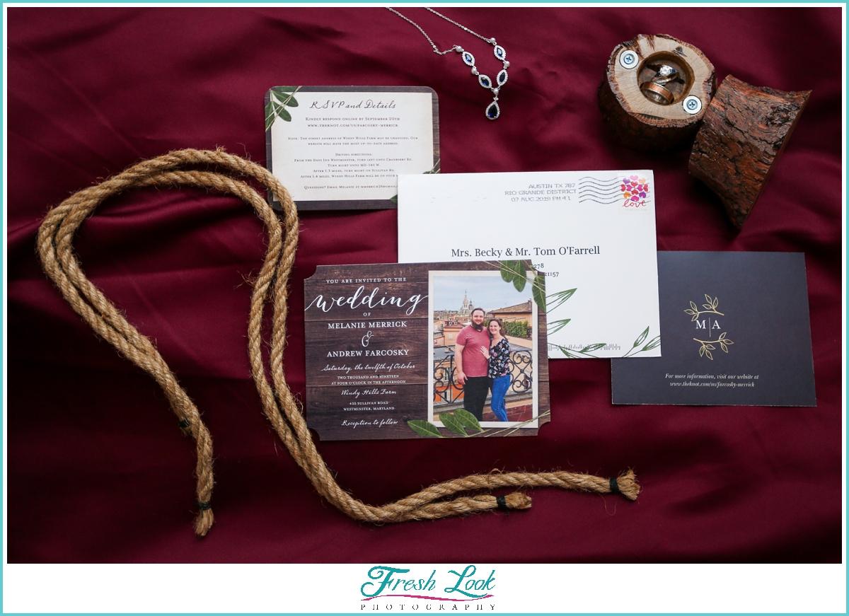 fall wedding stationery set