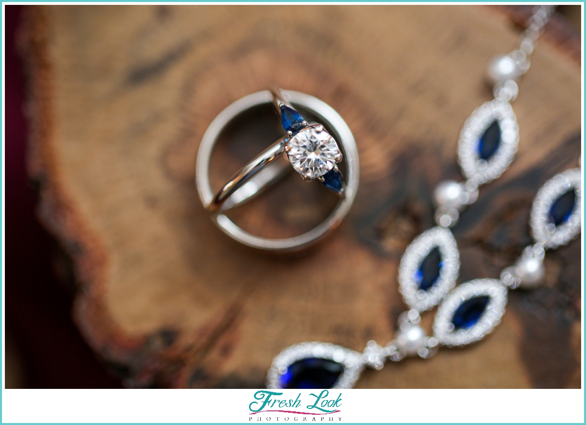 diamond ring and sapphire jewelry