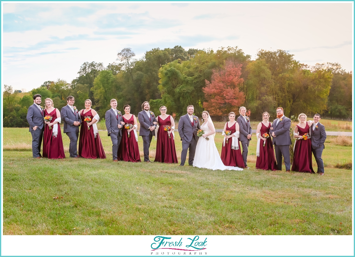 photos with the bride and groom and bridal party