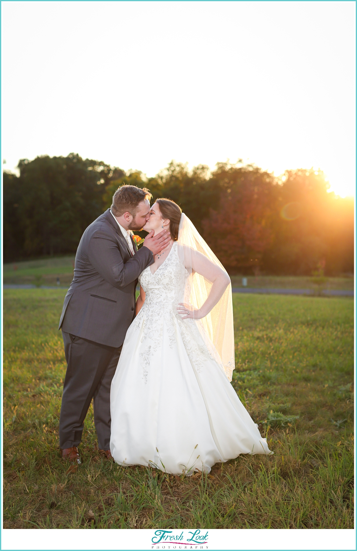 bride and groom photos at sunset