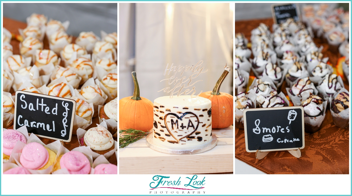 wedding cupcakes and cake