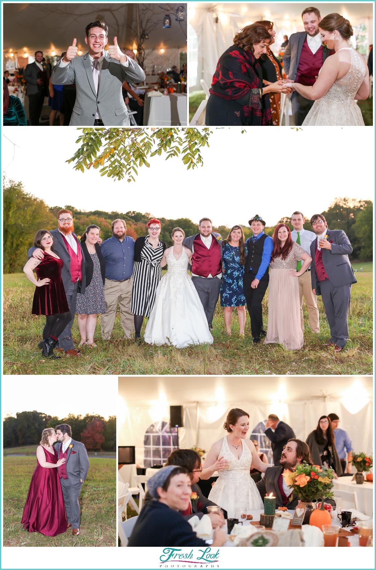fun photos at wedding reception