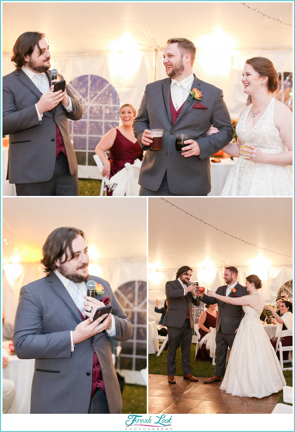 toasting the new bride and groom