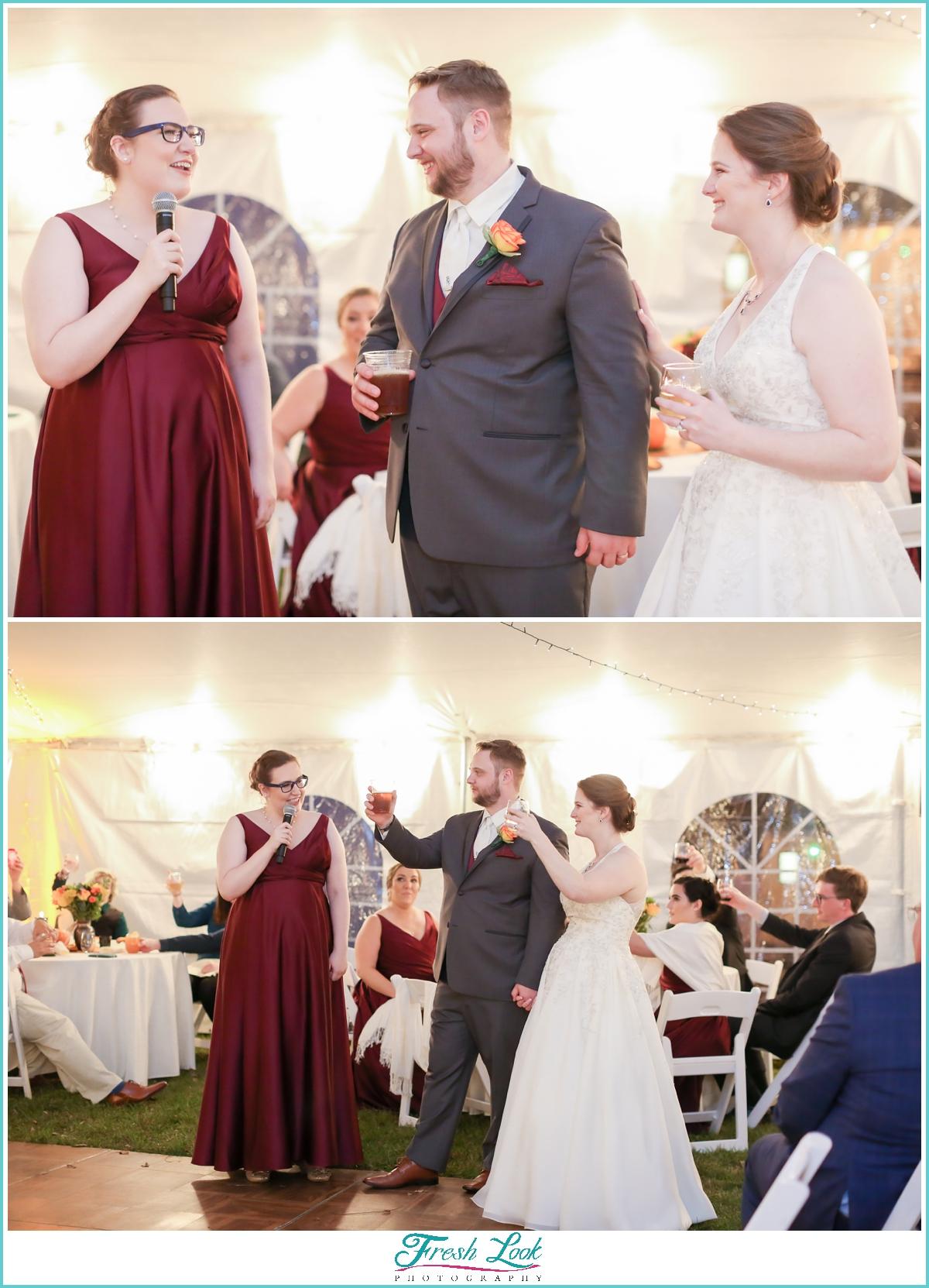 bridesmaid toast to bride and groom