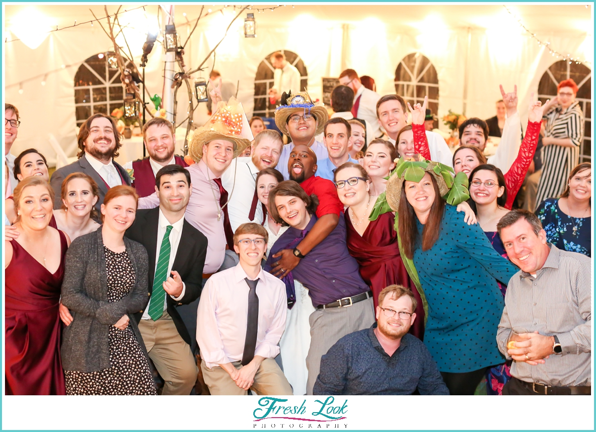 all our friends at the wedding reception