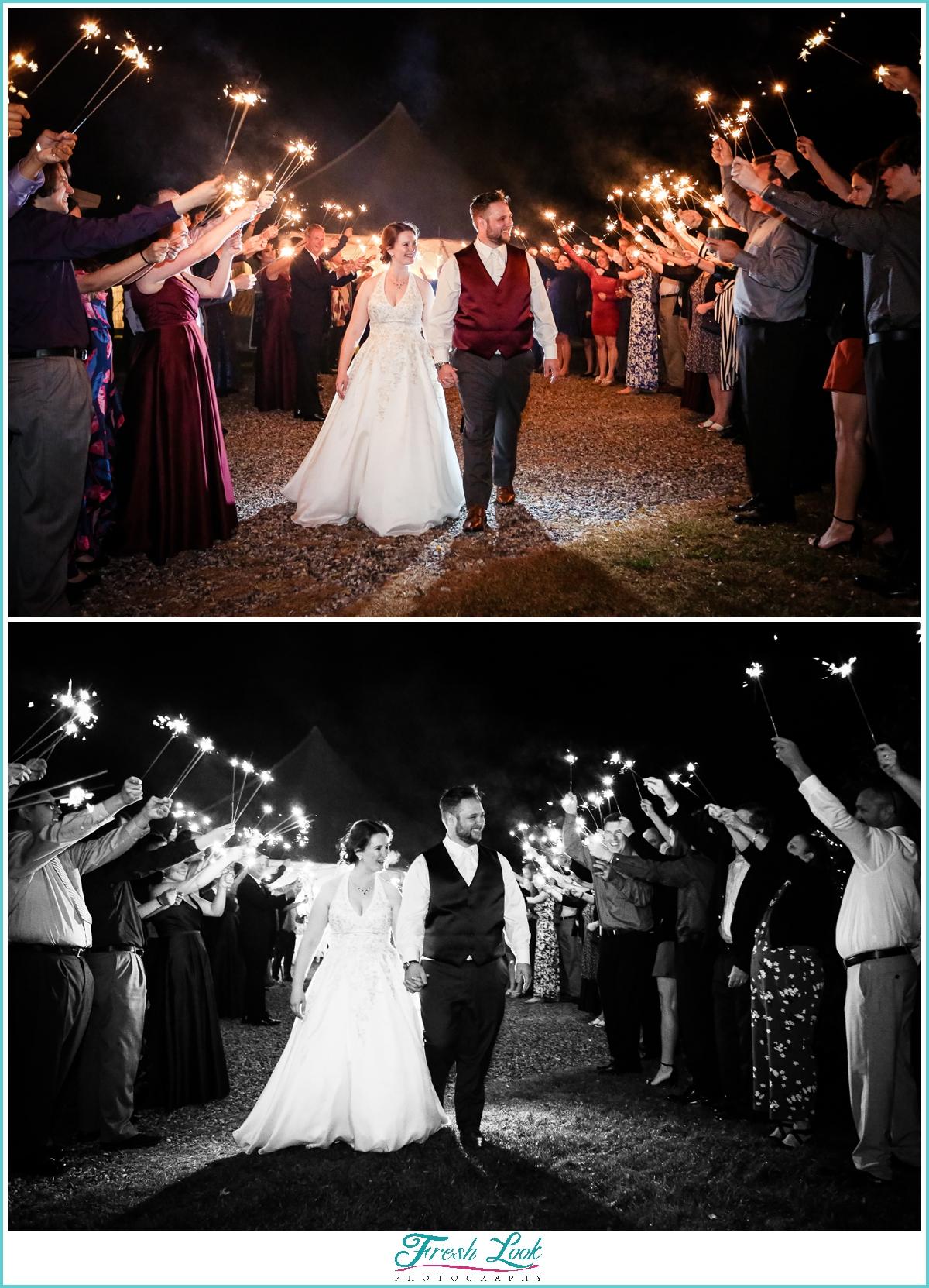 sparkler sendoff at wedding reception