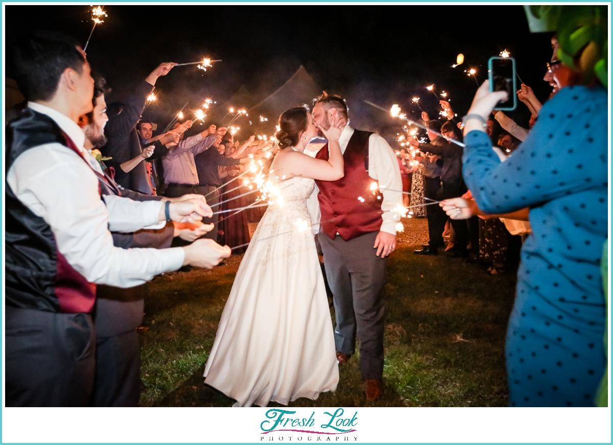 wedding reception ending with sparkler send off