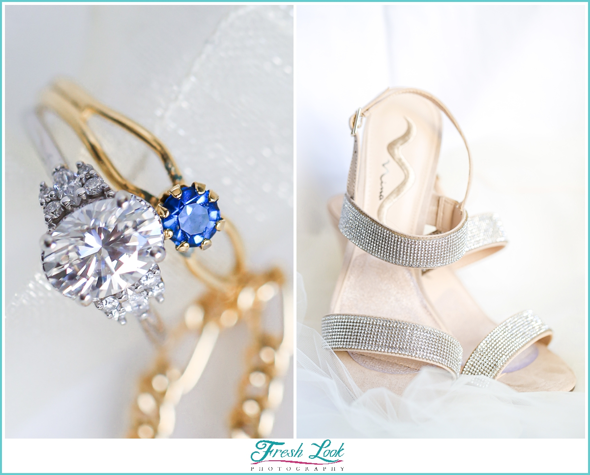 wedding ring and wedding shoes