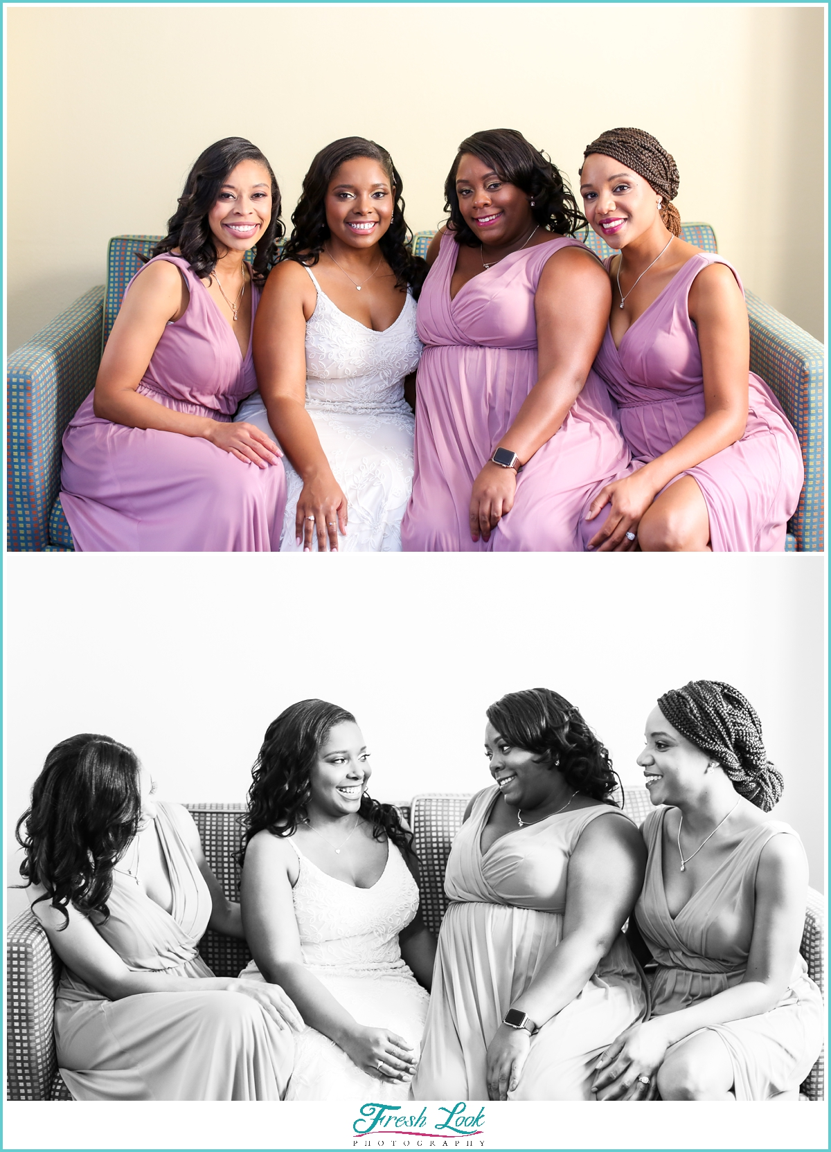 bride and bridesmaids wearing purple
