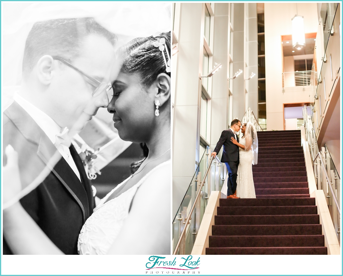 romantic bride and groom portraits at Sandler Center