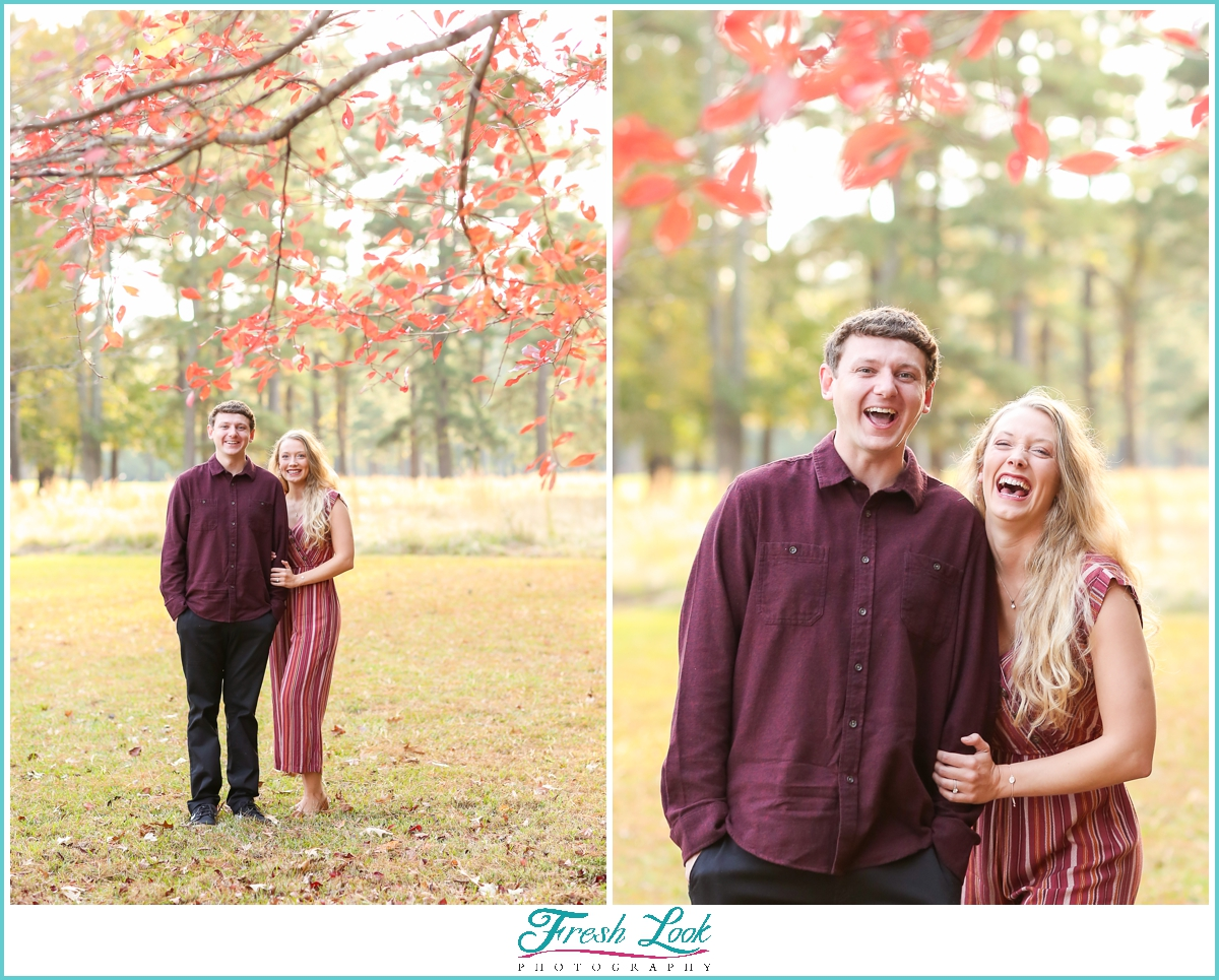 fun fall engagement photoshoot