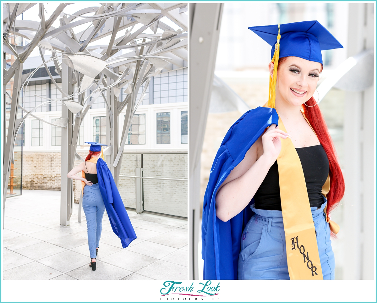 Senior Girl photos with cap and gown
