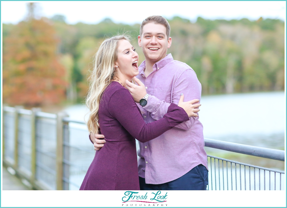 being silly during engagement photos