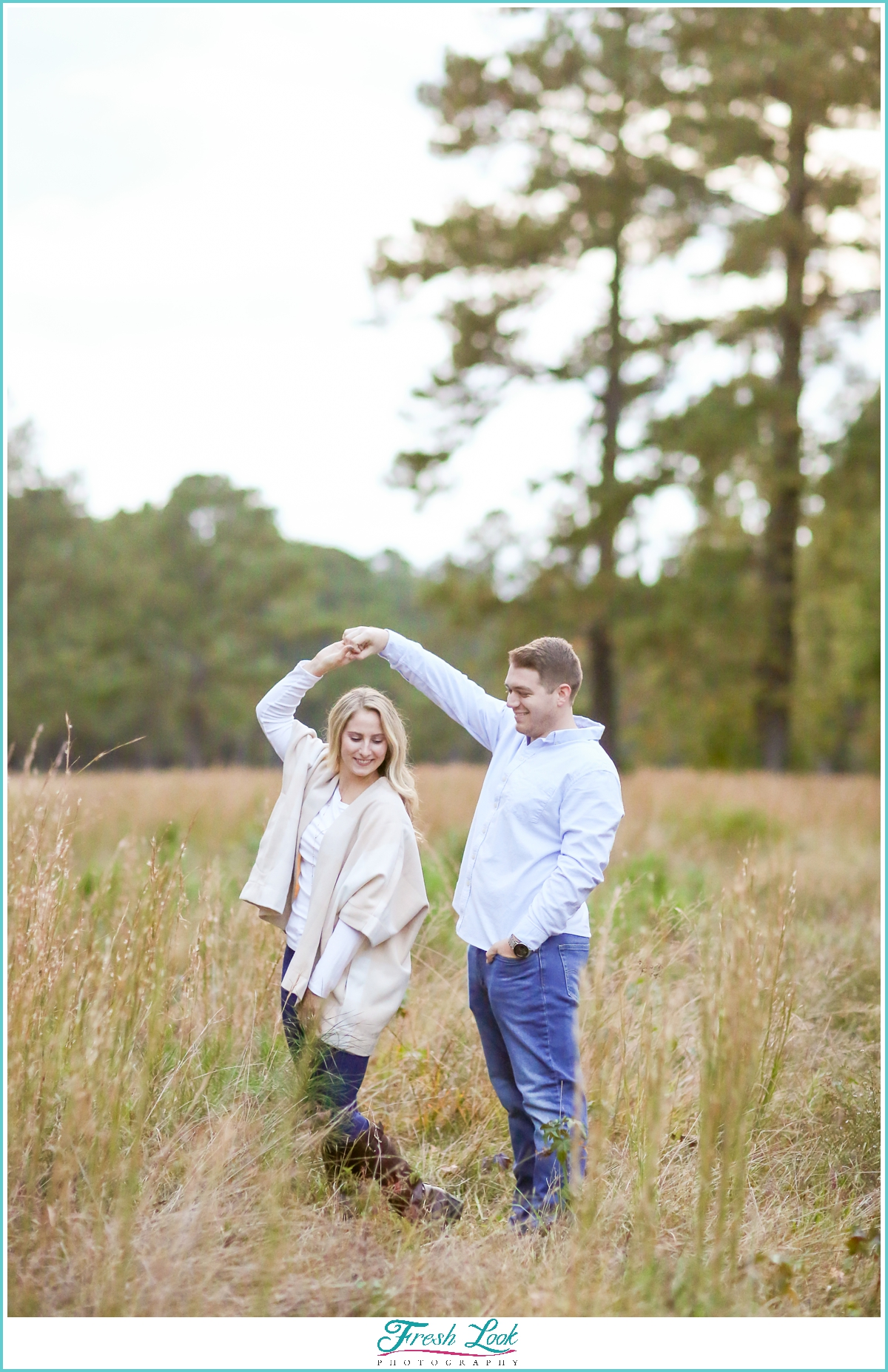 romantic dancing engagement photoshoot