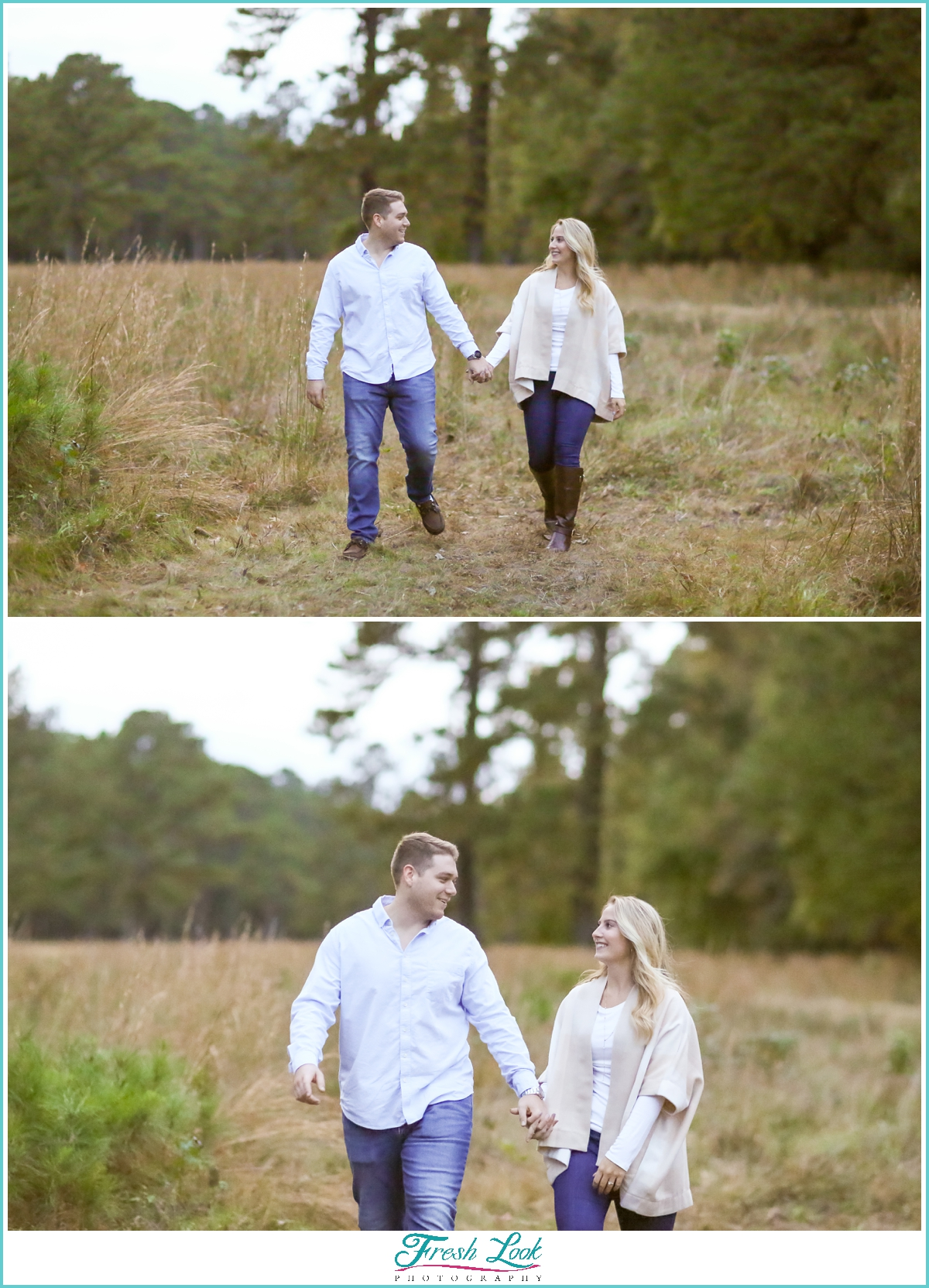 walking hand in hand during engagement session
