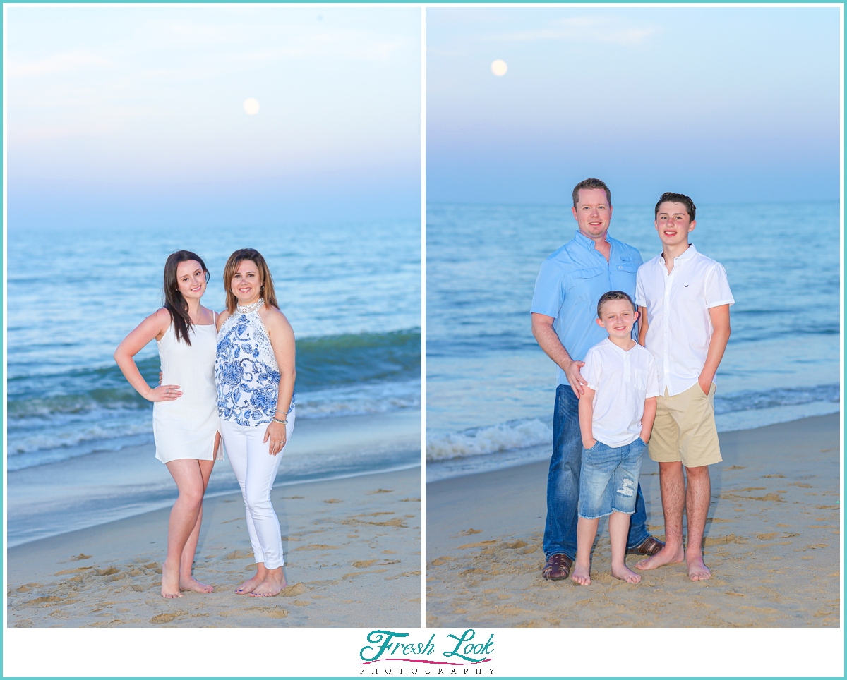 family sunset photos on the beach