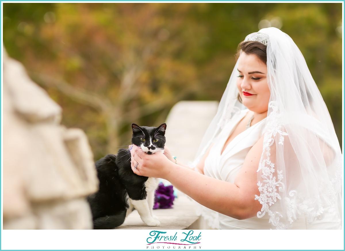cat bridal portrait session