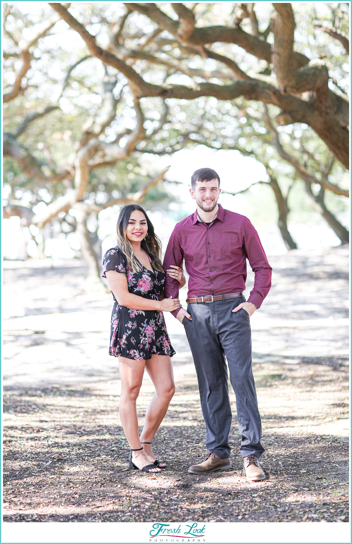 engagement session with live oak trees