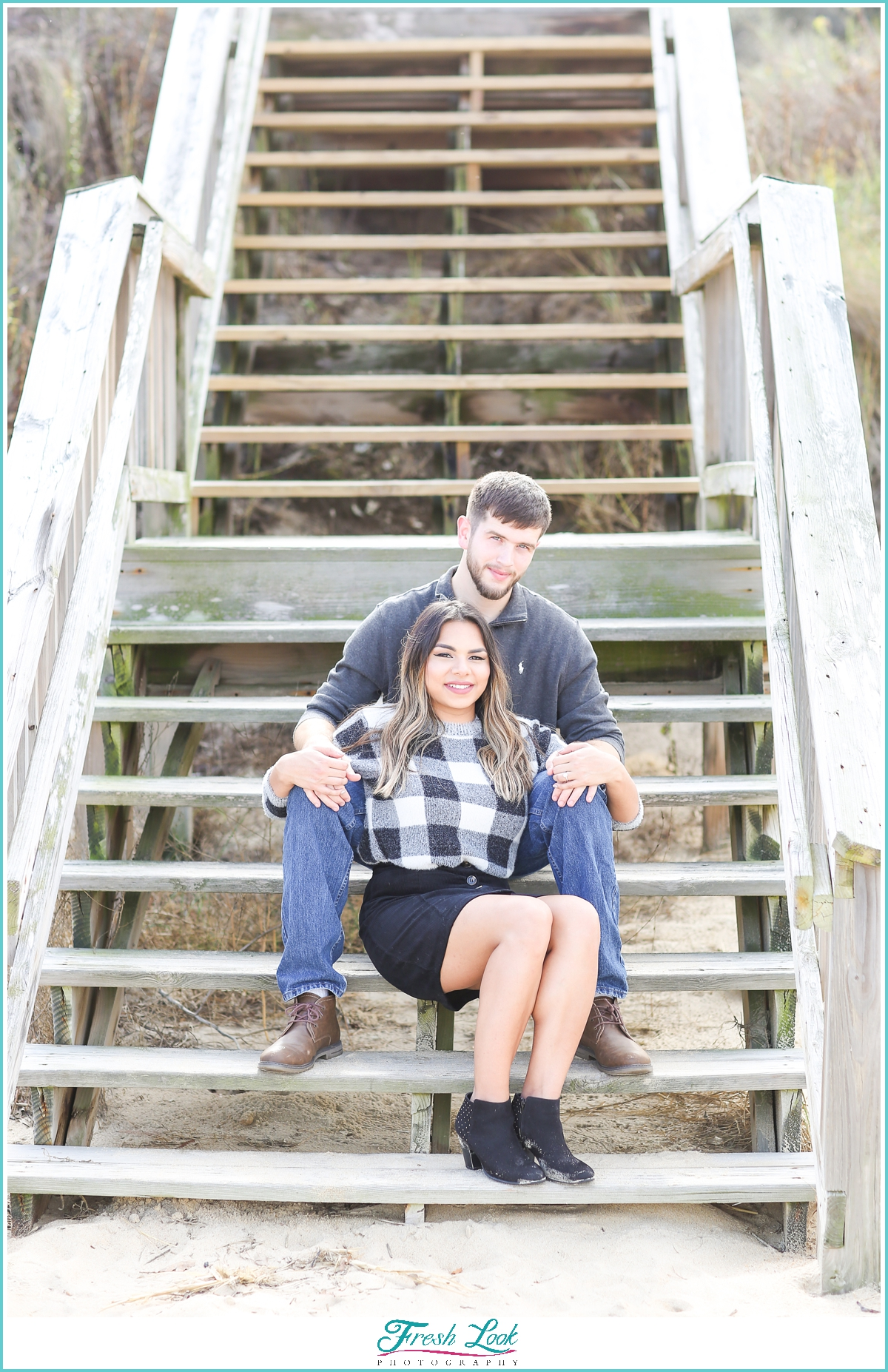 engagement pictures on the stairs