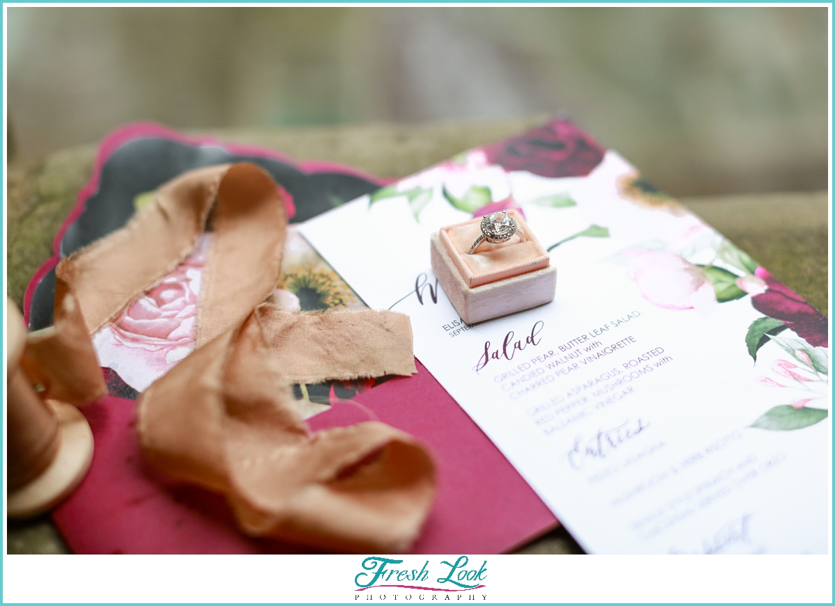wedding stationery with engagement ring
