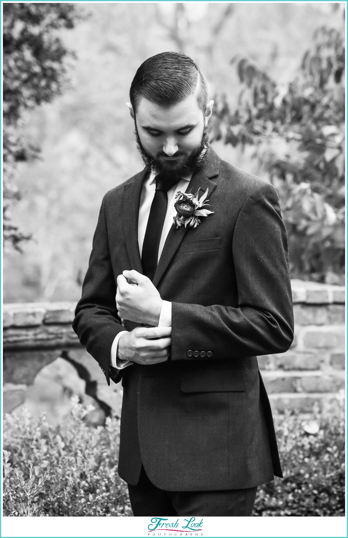 black and white handsome groom portrait