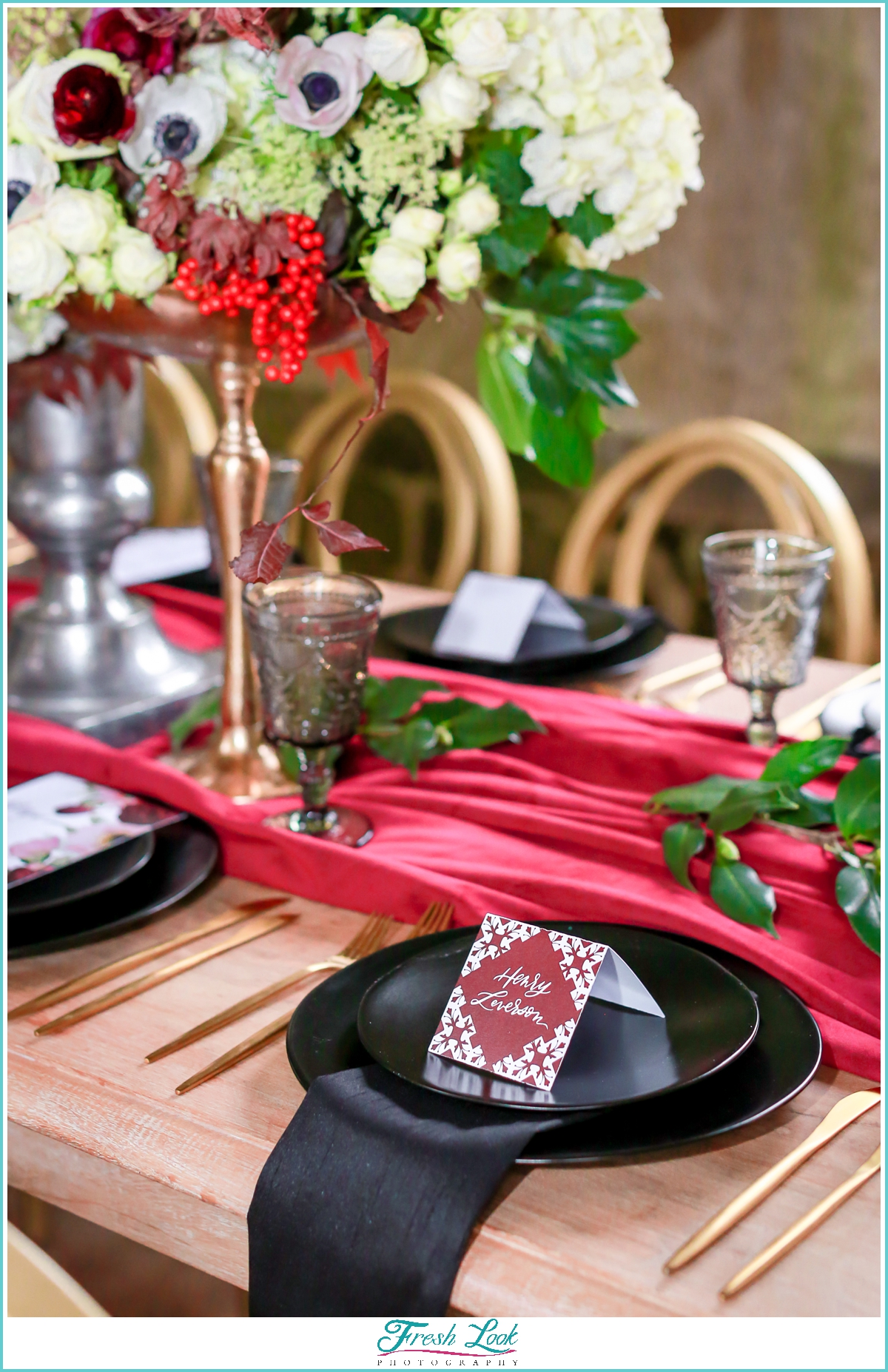 red and black wedding reception decor