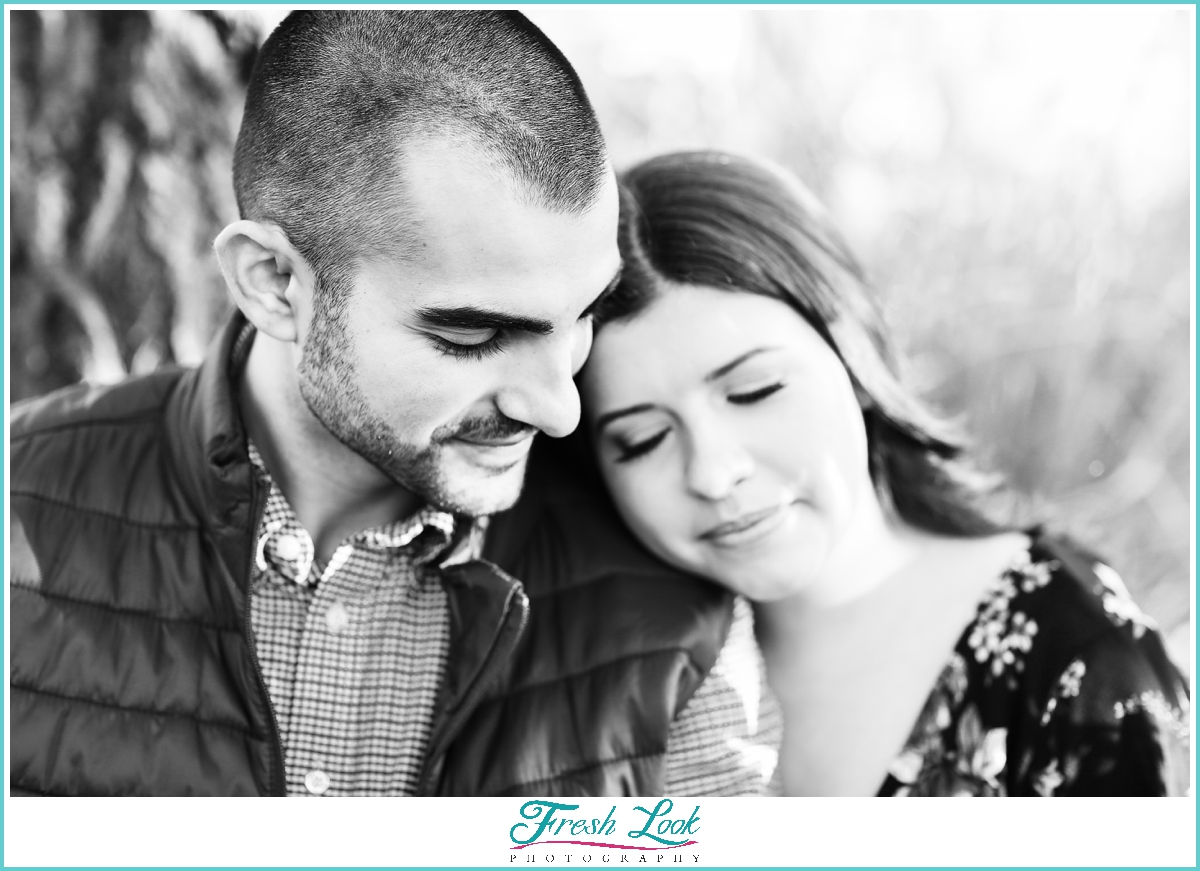 black and white photography engagement session