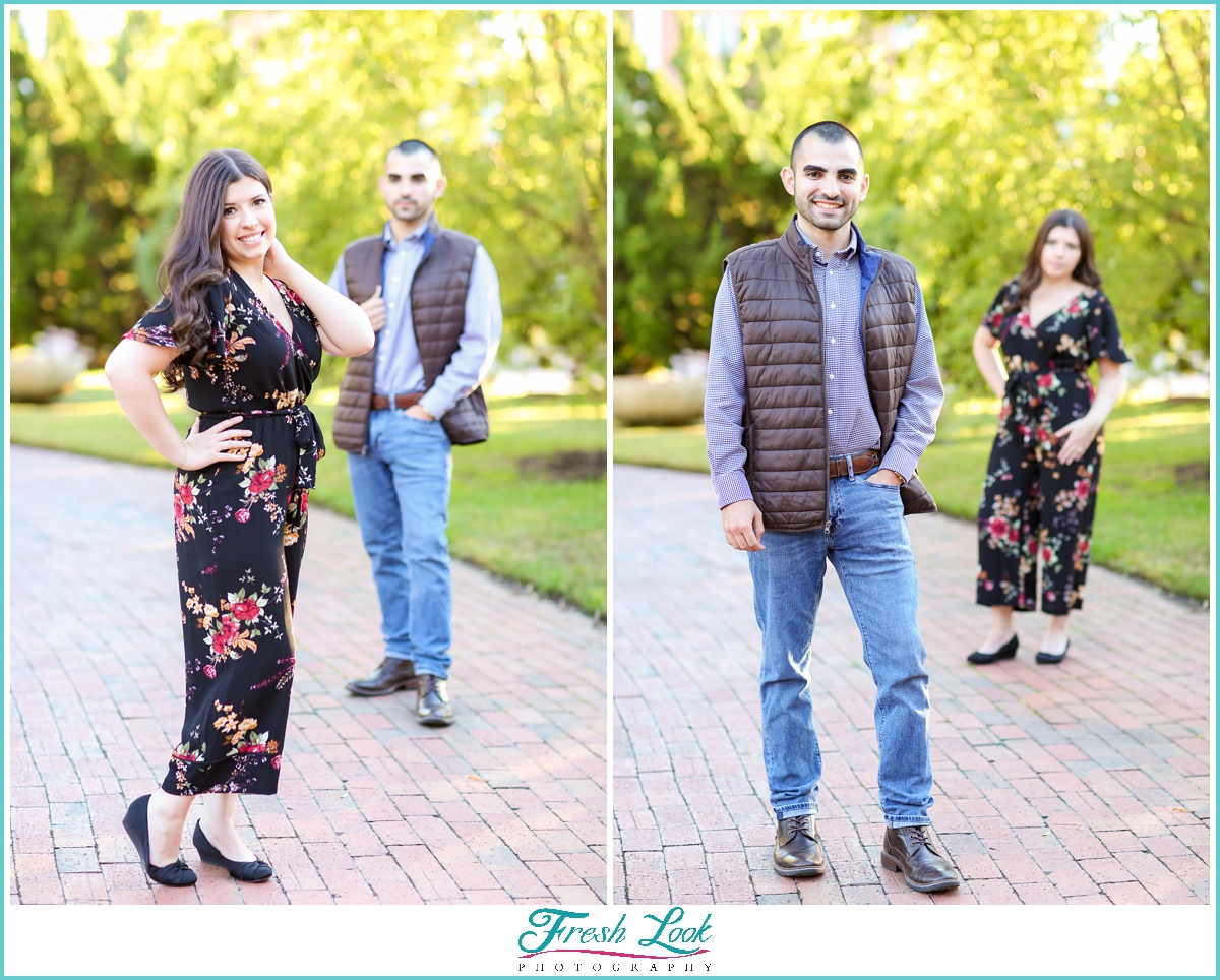 getting photos of each other at engagement session