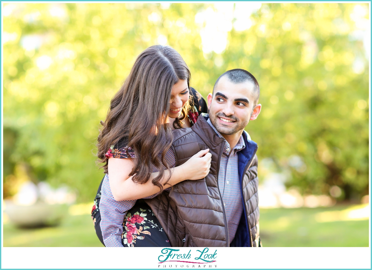 having fun at the engagement session