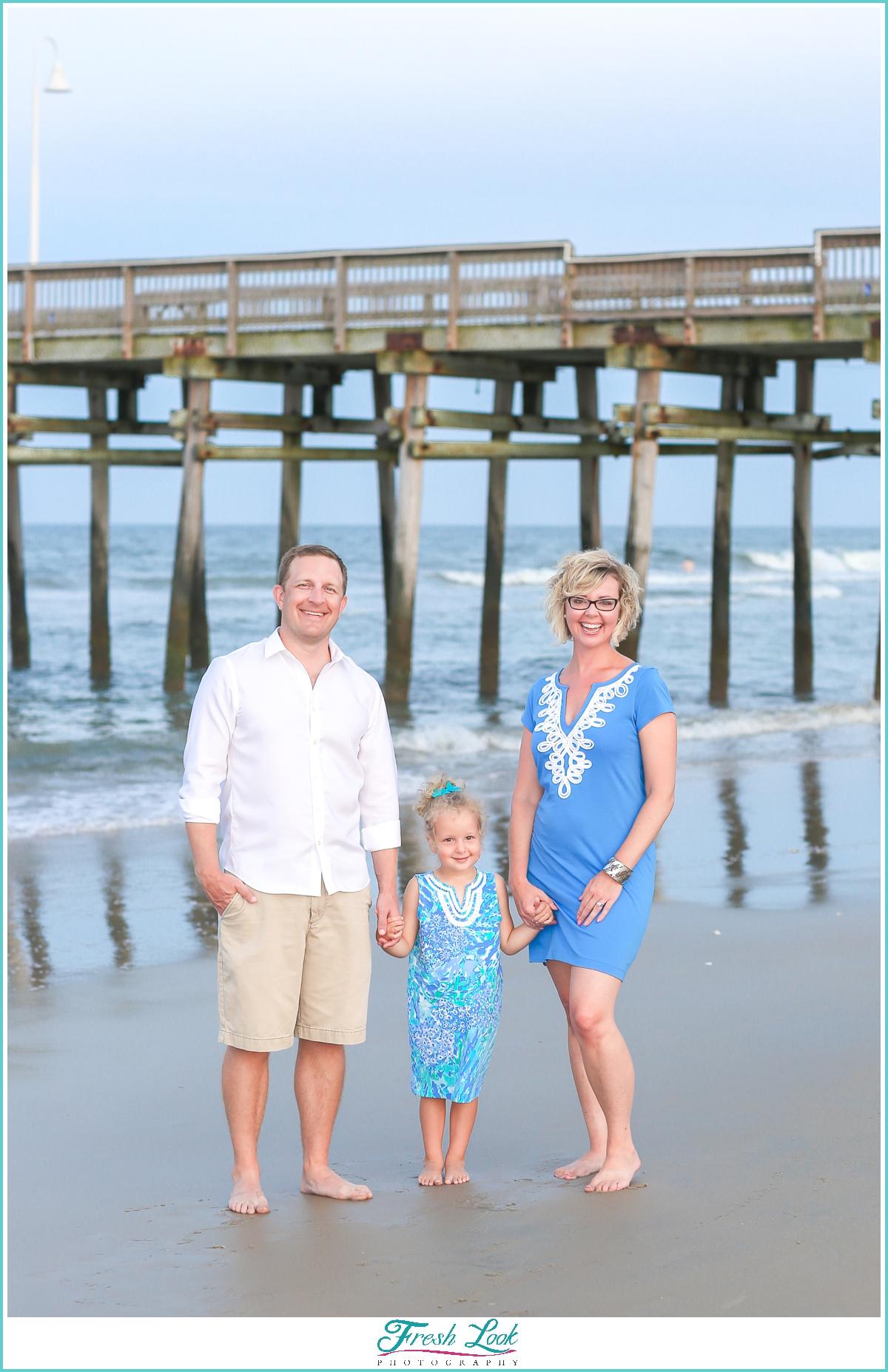 family photos on the beach at Sandbridge beach