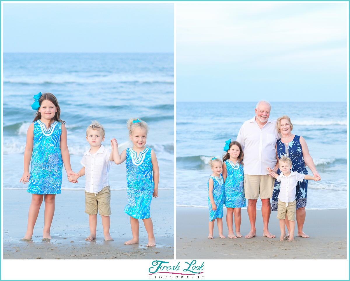 grandkids and grandparents on the beach