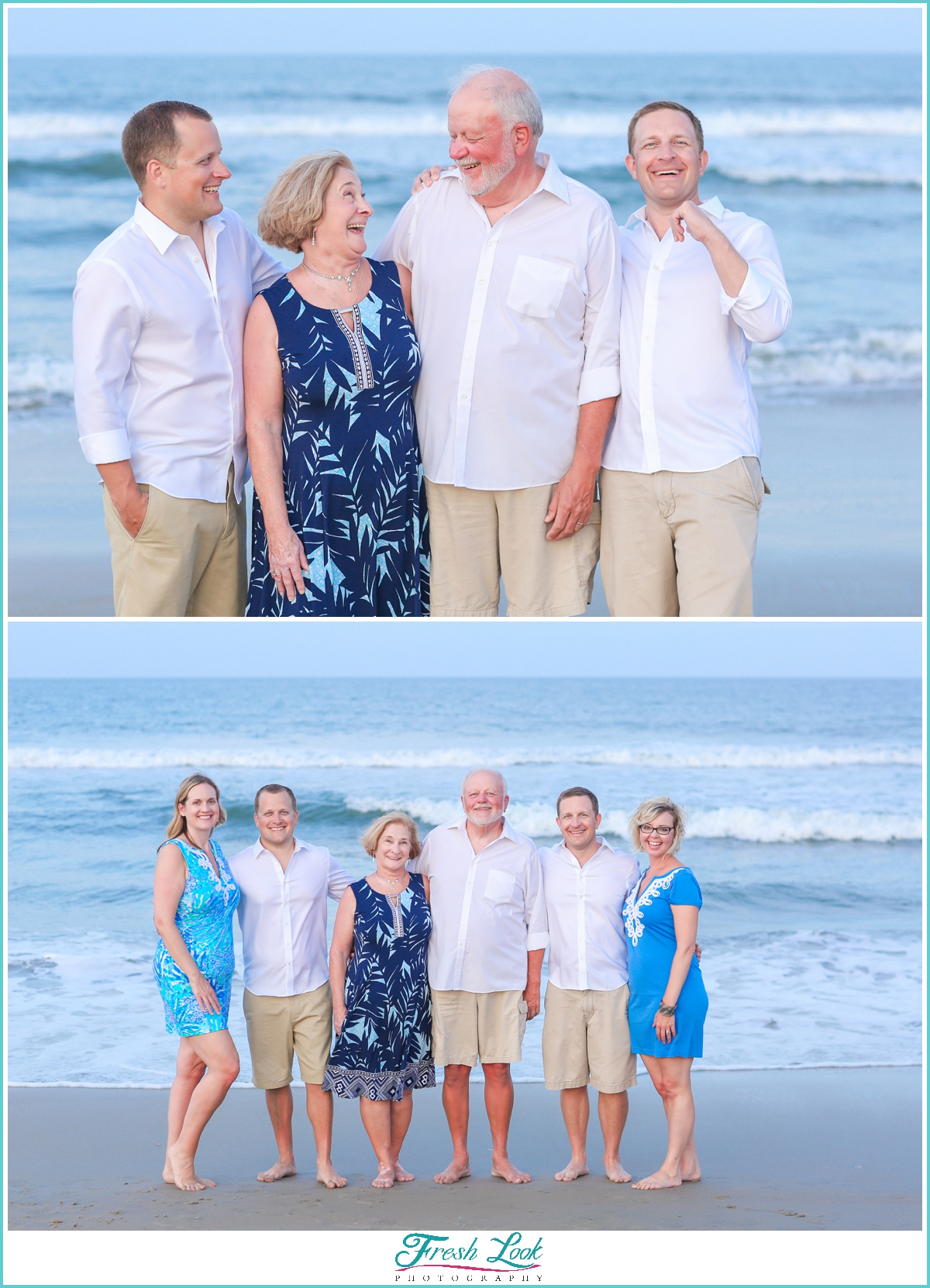 kids and parents photos on the beach
