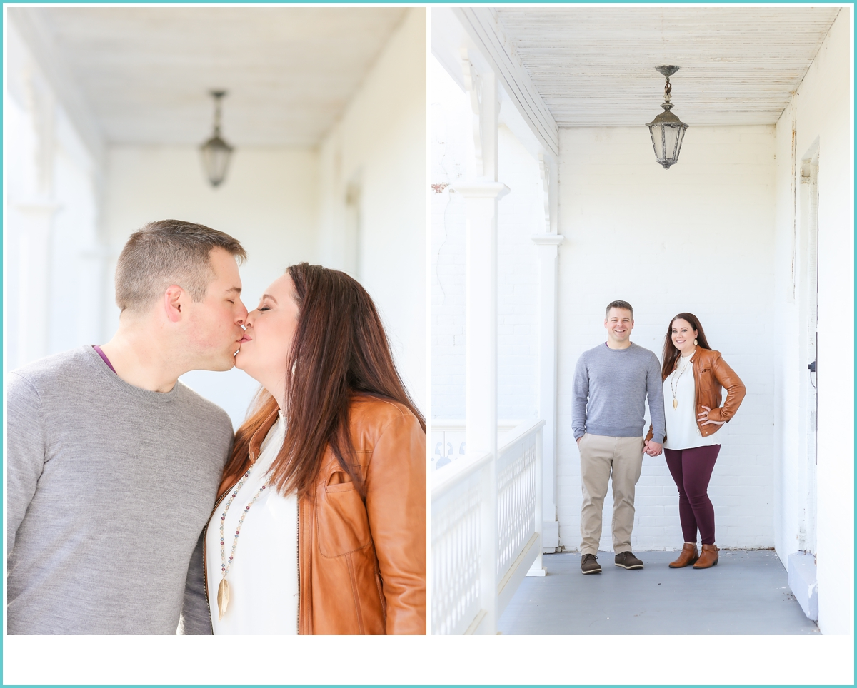 fall engagement photoshoot at Fort Monroe