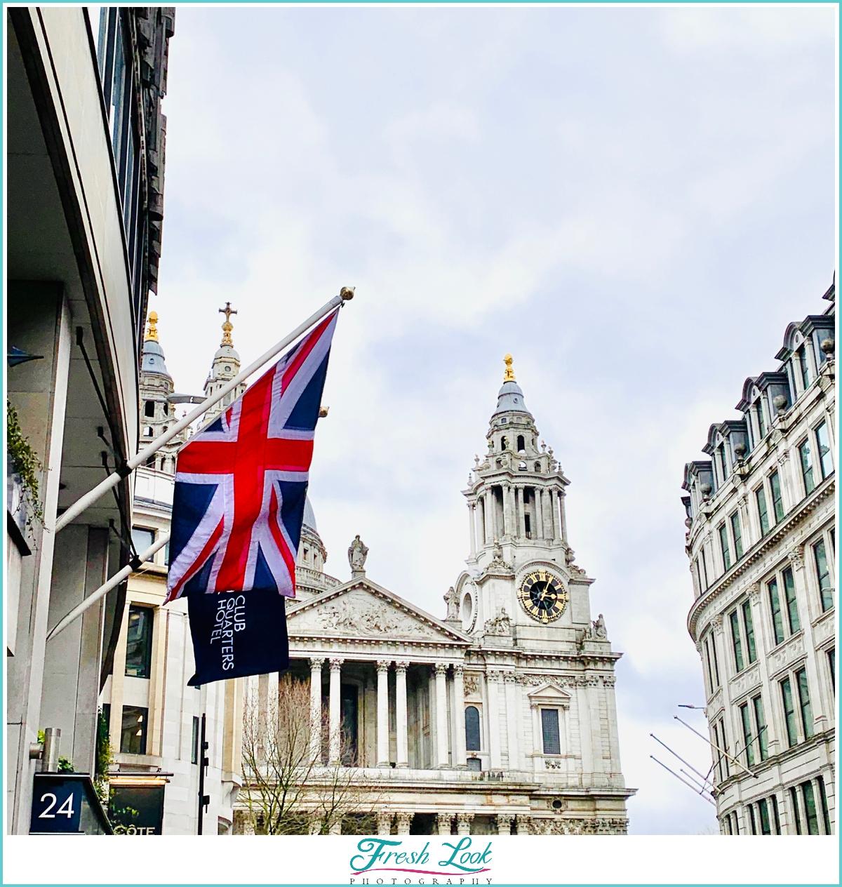 British Flag and Saint Pauls Cathedral