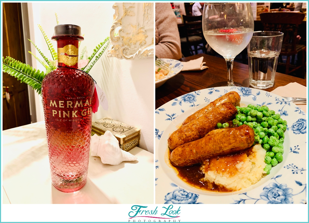 Mermaid Pink Gin and Bangers and Mash