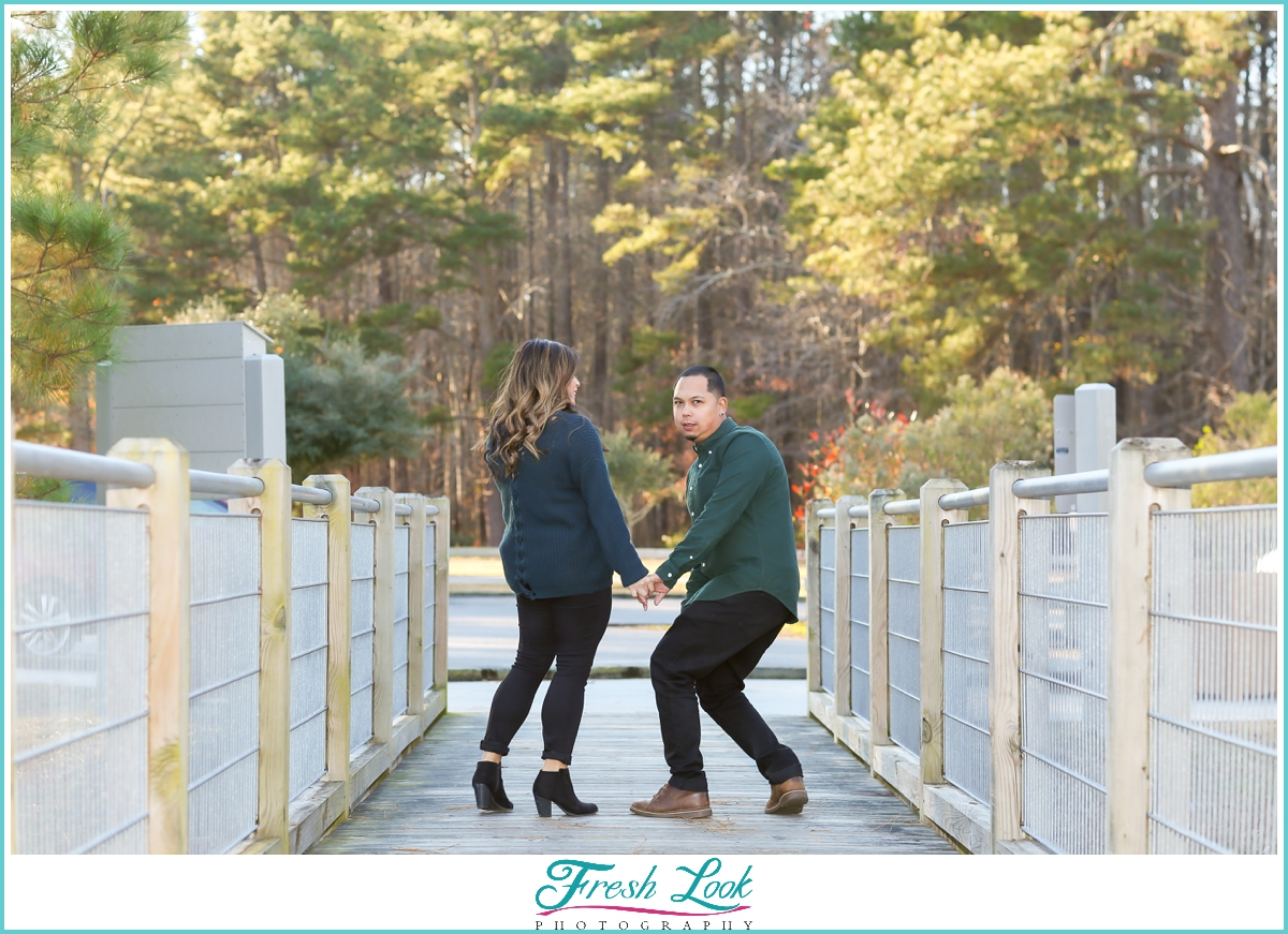 being silly during the engagement session