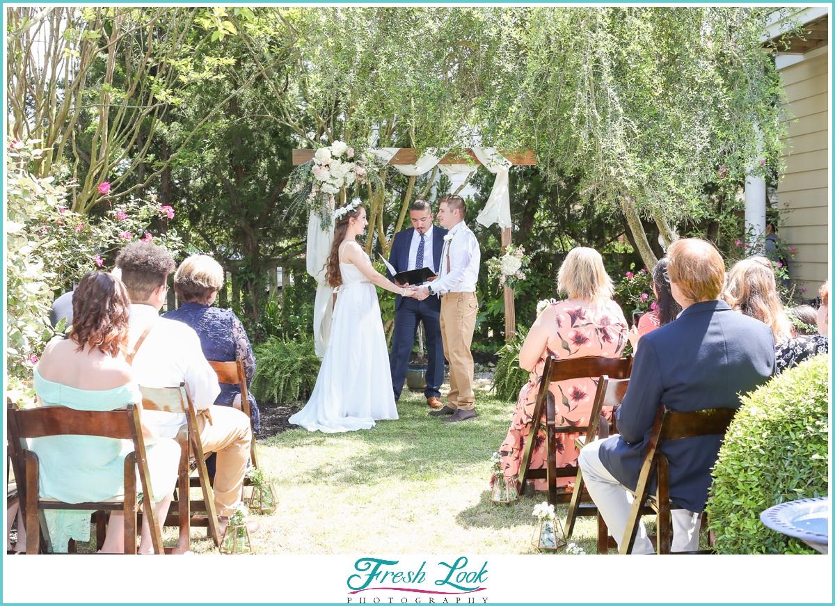 Intimate outdoor wedding ceremony in Virginia Beach