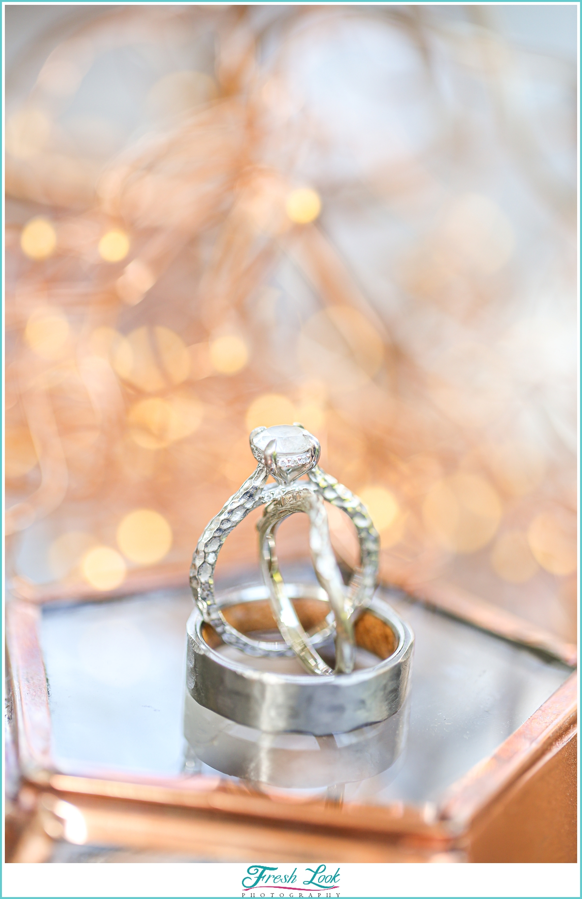 unique wedding rings with sparkly lights