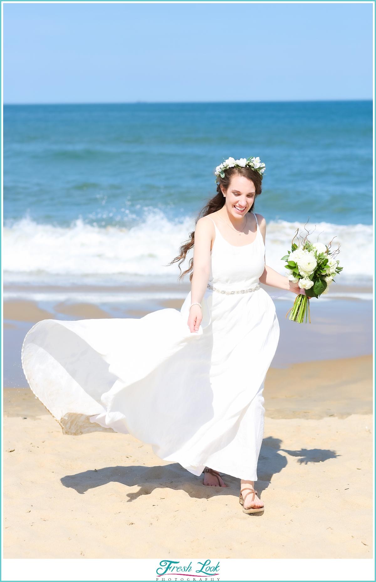 fun bridal photos on the beach