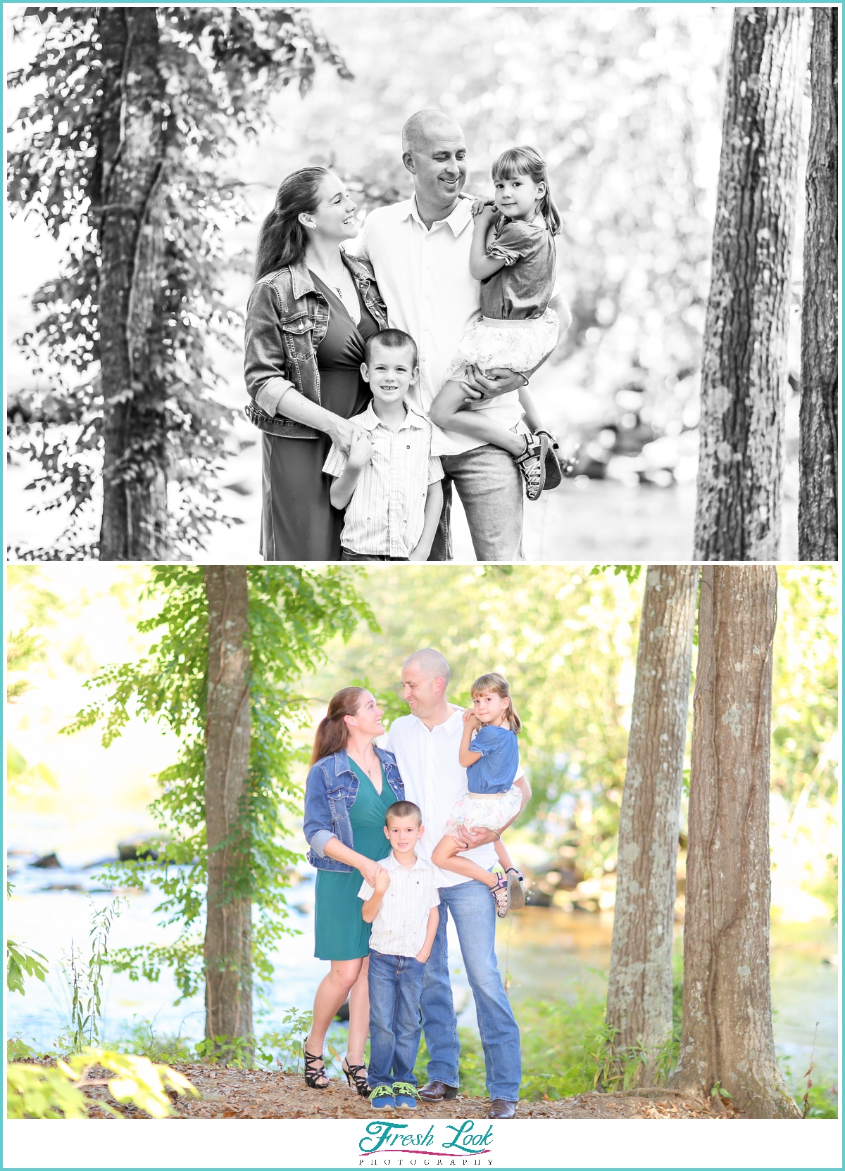 fun family photos in the woods