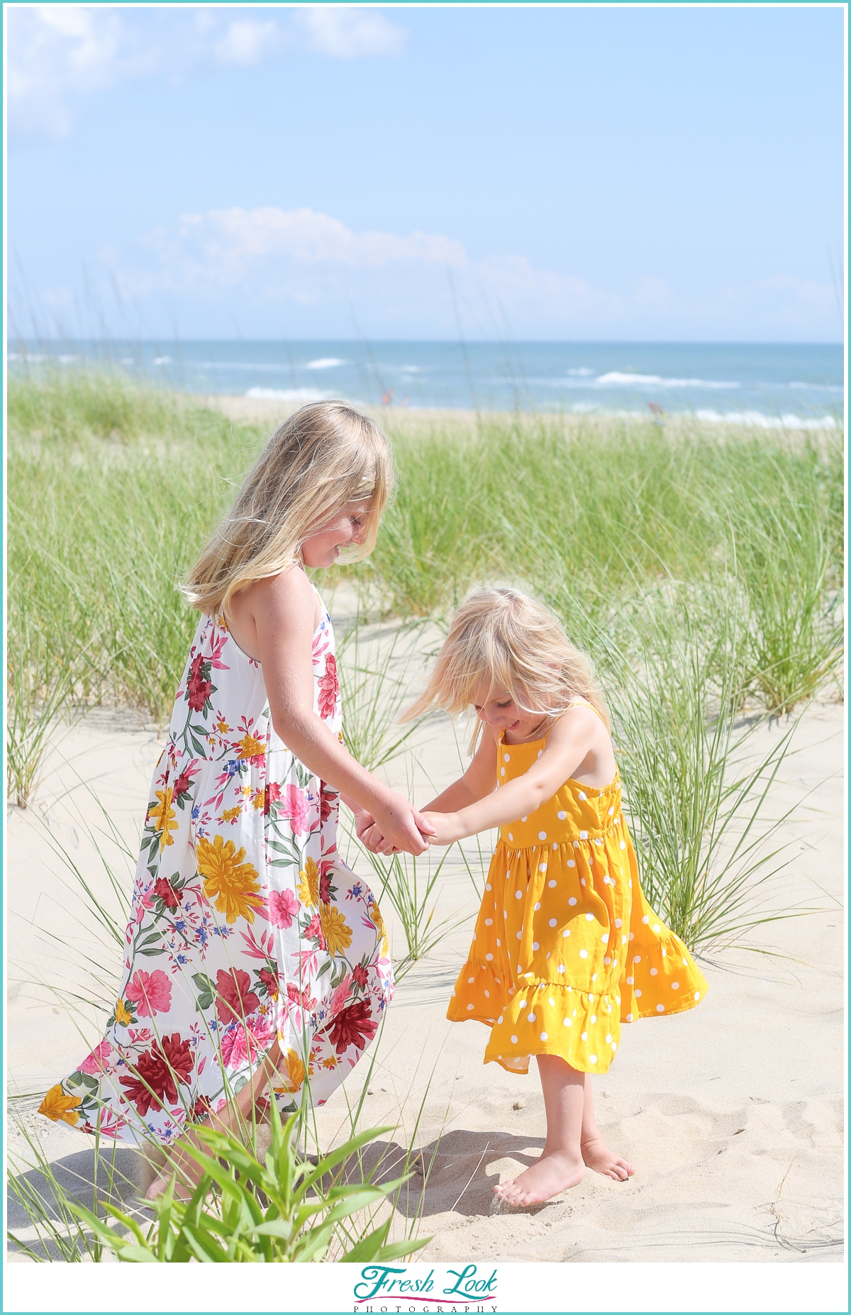 little girls playing at Sandbridge Beach