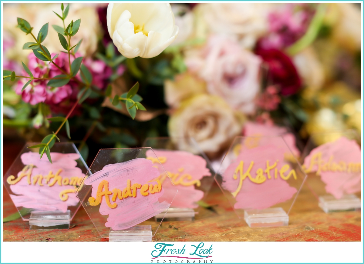 colorful wedding place cards