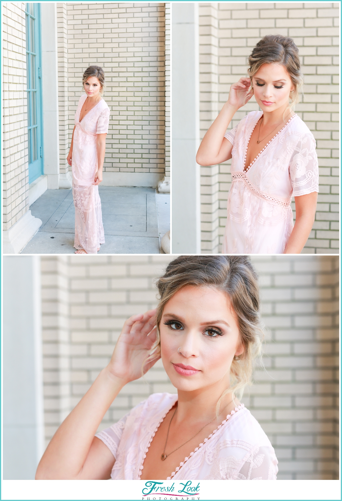 beautiful bridesmaid wearing pink