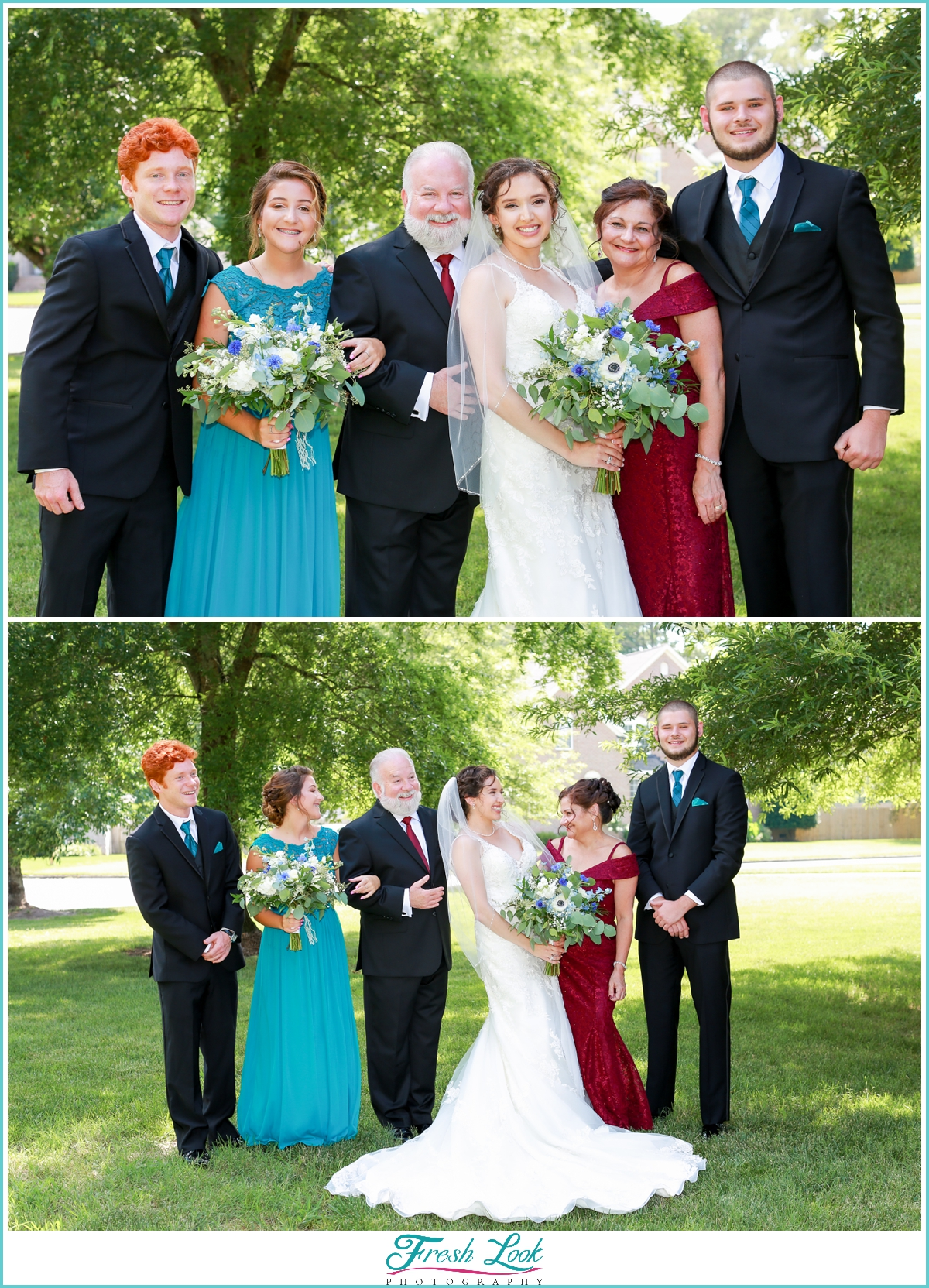 bride and her family portraits
