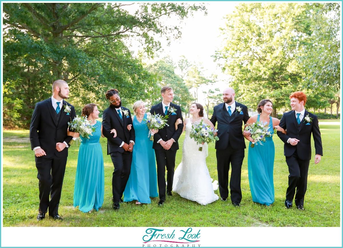 bridal party photos having fun