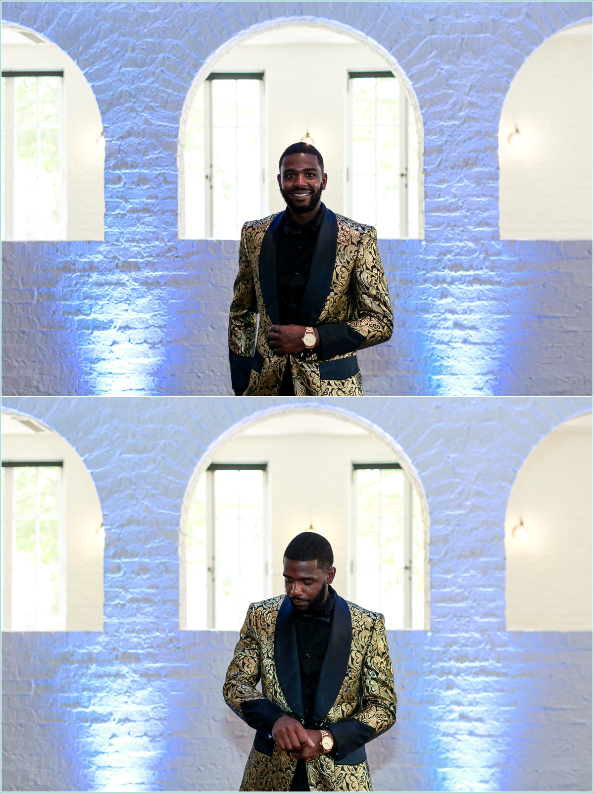 groom wearing unique gold tuxedo