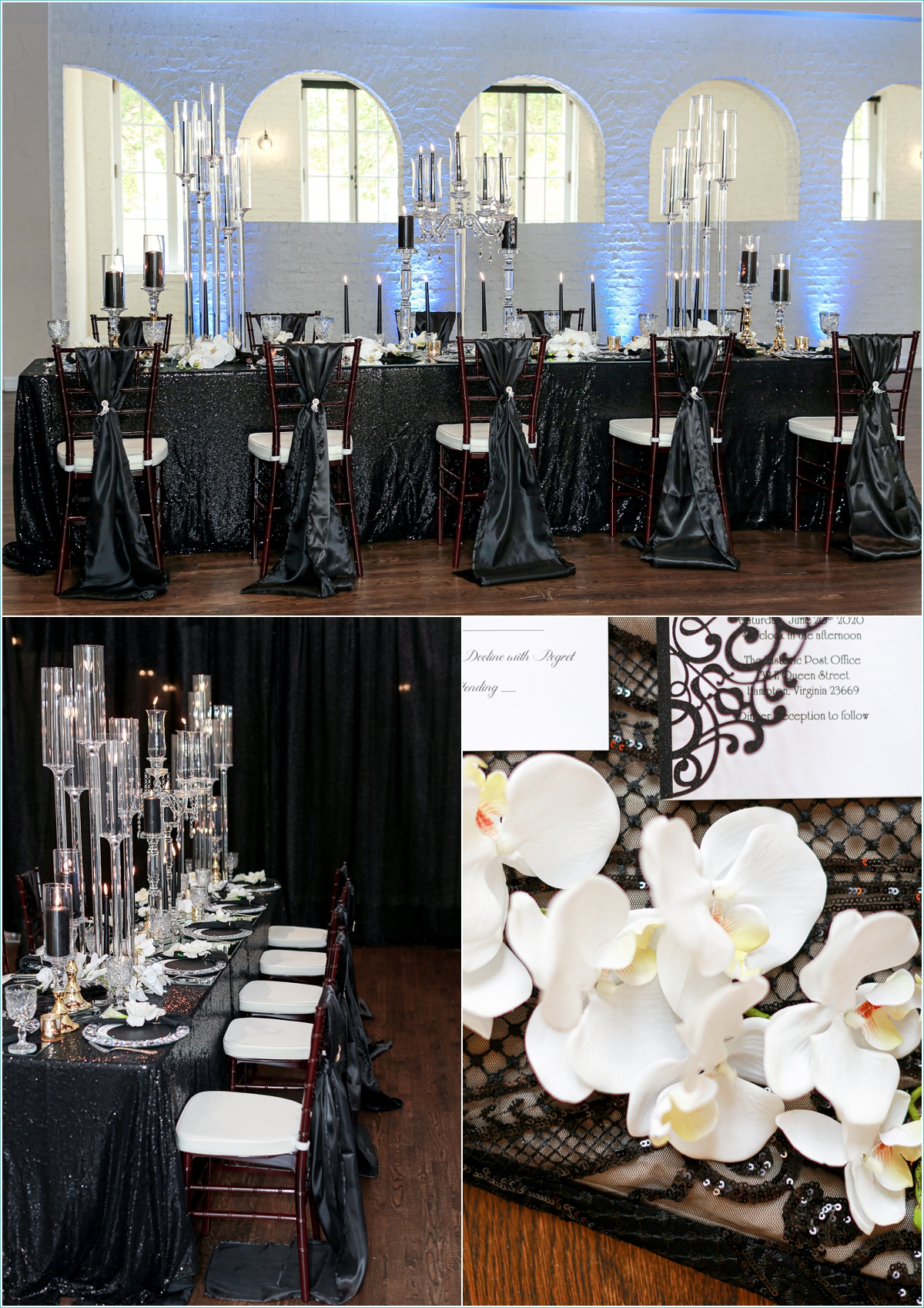 Black and crystal wedding reception decor