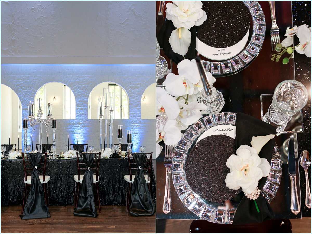 crystal and black wedding reception