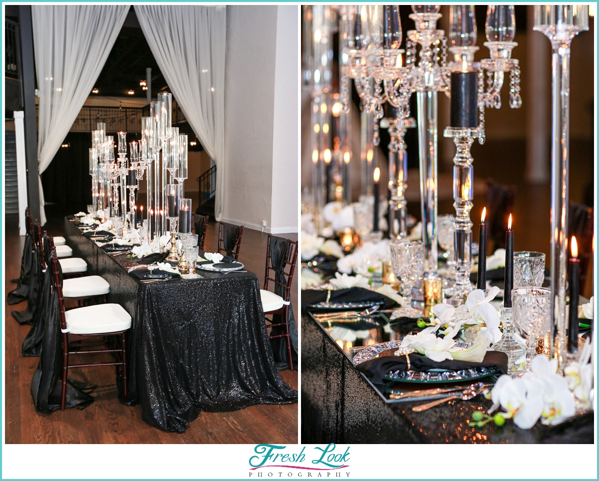 crystal and candle lit reception